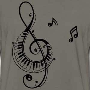 Clef with piano and music notes, i love music. - Men's Premium Long Sleeve T-Shirt