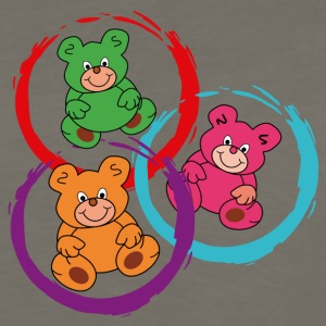 three teddybears in circles - Men's Premium Long Sleeve T-Shirt