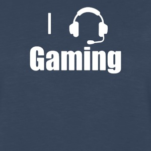 I Love,Heart Gaming Headset Cool Video Game - Men's Premium Long Sleeve T-Shirt