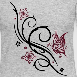 Cherry blossoms with butterfly and Tribal ornament - Women's Premium Long Sleeve T-Shirt