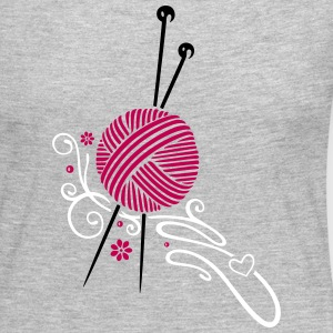 Knitting needles with wool and flowers. - Women's Premium Long Sleeve T-Shirt