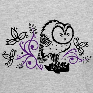 Owl with flowers and leaves. - Women's Premium Long Sleeve T-Shirt
