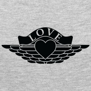 Love - Wings Design (White Outline/Black Fill) - Women's Premium Long Sleeve T-Shirt