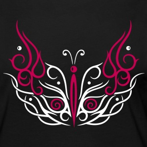 Big filigree butterfly, Tribal and Tattoo style. - Women's Premium Long Sleeve T-Shirt