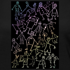 scribble figures on black - Women's Premium Long Sleeve T-Shirt