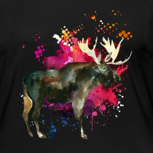 Moose Watercolor Tee Shirt - Women's Premium Long Sleeve T-Shirt