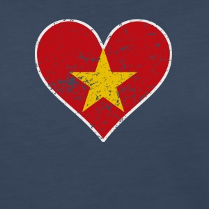 Distressed Vietnamese Flag Heart - Women's Premium Long Sleeve T-Shirt
