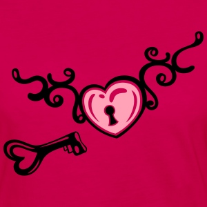 Heart with tribal, key and lock, tattoo art. - Women's Premium Long Sleeve T-Shirt