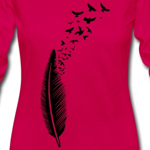 Feather with birds - Women's Premium Long Sleeve T-Shirt