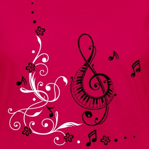 Clef with music notes and flowers - Women's Premium Long Sleeve T-Shirt