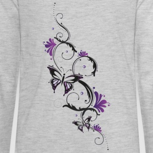 Floral ornament with butterfly and flowers. - Kids' Premium Long Sleeve T-Shirt