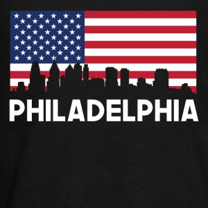 Philadelphia PA American Flag Skyline - Kids' Premium Long Sleeve T-Shirt