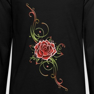 Red rose with leaves and filigree Tribal. - Kids' Premium Long Sleeve T-Shirt