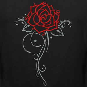 Colorful rose with filigree ornament and leaves. - Men's Premium Tank