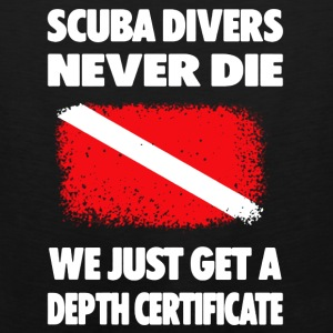 Scuba Diving Depth Certificate Tee Shirts - Men's Premium Tank