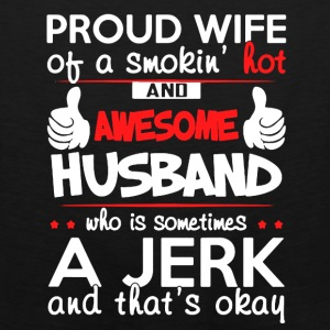 PROUD WIFE OF AWESOME HUSBAND SHIRT - Men's Premium Tank