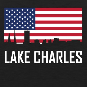 Lake Charles Louisiana Skyline American Flag - Men's Premium Tank