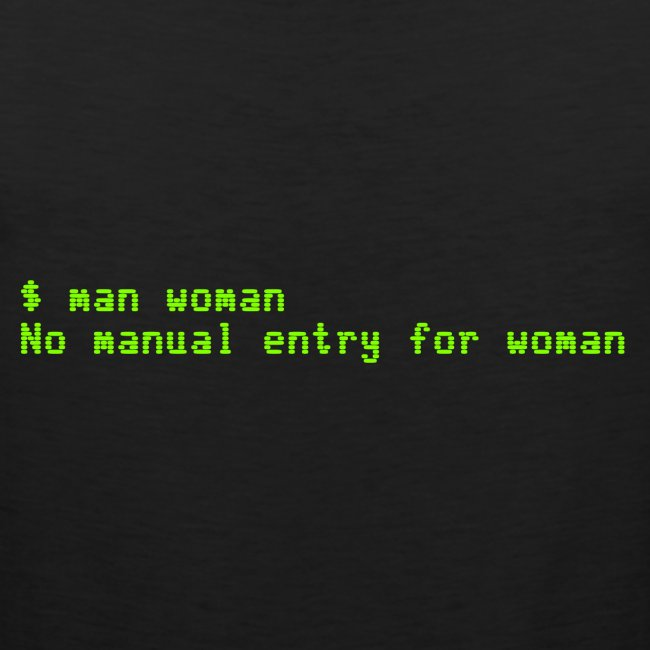 man woman. No manual entry for woman