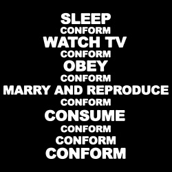 Sleep, watch tv, obey, marry and reproduce, consume, conform