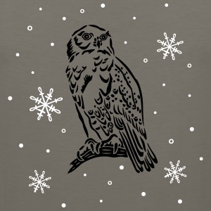 Beautiful snow owl with snowflakes. - Men's Premium Tank