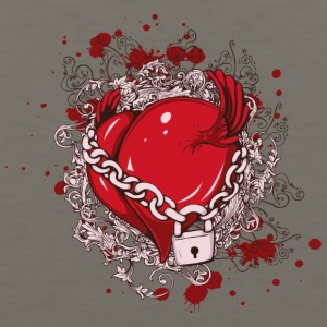 Heart chain lock wings drawing blood - Men's Premium Tank