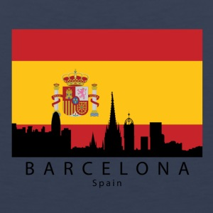 Barcelona Spain Skyline Spanish Flag - Men's Premium Tank