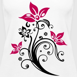Flowers with filigree floral ornament. - Women's Premium Tank Top