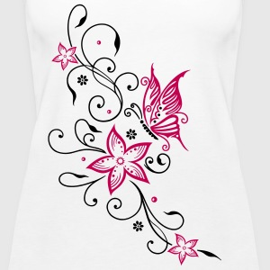 Flowers with filigree floral ornament, butterfly - Women's Premium Tank Top