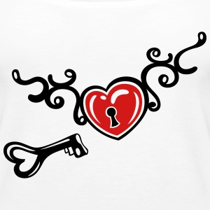 Heart with tribal, key and lock, tattoo art. - Women's Premium Tank Top