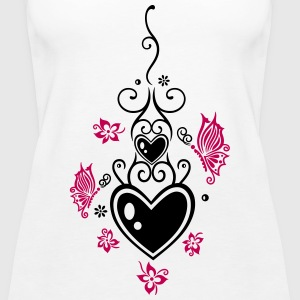 Hearts with tribal, flowers and butterflies - Women's Premium Tank Top