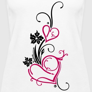 Two hearts with flowers - Women's Premium Tank Top
