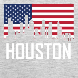 Houston Texas Skyline American Flag - Women's Premium Tank Top
