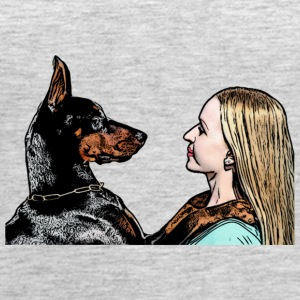 dog doberman and blonde woman, love, hug - Women's Premium Tank Top