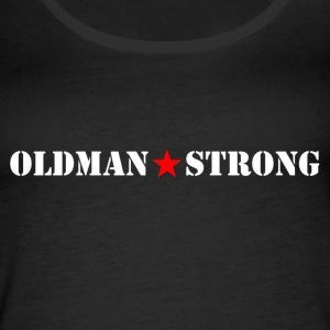 Old Man Strong Star White Text - Women's Premium Tank Top