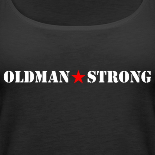 Old Man Strong Star White Text - Women's Premium Tank Top
