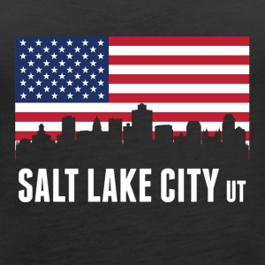 American Flag Salt Lake City Skyline - Women's Premium Tank Top