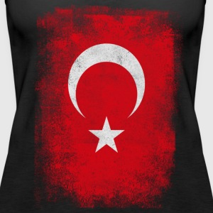 Turkey Turkish Flag Vintage Distressed T-Shirt - Women's Premium Tank Top