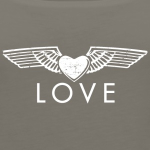 Love - Fashionable Wings Design (White) - Women's Premium Tank Top