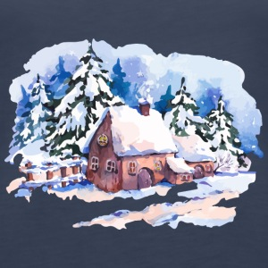 watercolor-landscape-winter-painting-house-trees - Women's Premium Tank Top