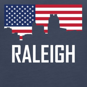 Raleigh North Carolina Skyline American Flag - Women's Premium Tank Top