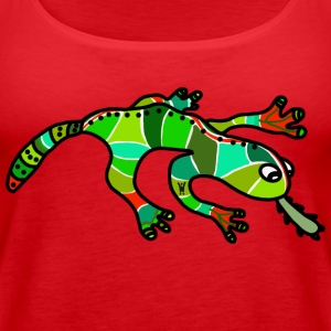 Nice gecko lizard ethno green red exotic tropical - Women's Premium Tank Top