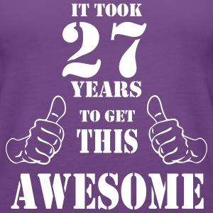 27th Birthday Get Awesome T Shirt Made in 1990 - Women's Premium Tank Top