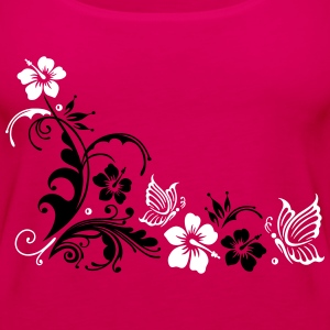 Hibiscus with butterflies - Women's Premium Tank Top