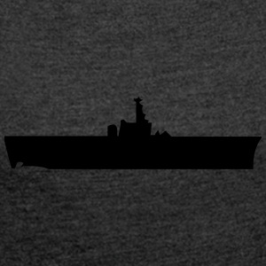 Vector Navy warship Silhouette - Women´s Roll Cuff T-Shirt