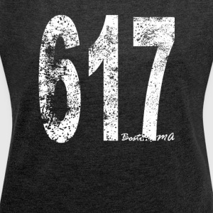 Vintage Boston Area Code 617 - Women's Roll Cuff T-Shirt