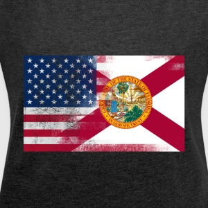 Florida American Flag Fusion - Women's Roll Cuff T-Shirt