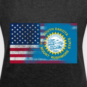 South Dakota American Flag Fusion - Women's Roll Cuff T-Shirt