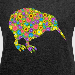 Kiwi Bird Flower Shirt - Women's Roll Cuff T-Shirt