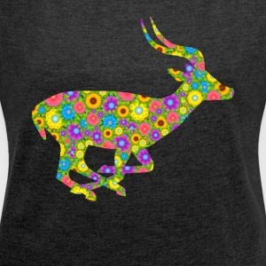 Antelope Flower Tee Shirt - Women´s Roll Cuff T-Shirt