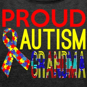 PROUD AUTISM GRANDMA - Women´s Rolled Sleeve Boxy T-Shirt